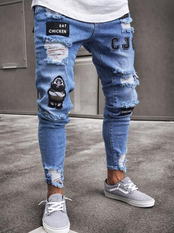 Pencil Pants Color Block Embroidery Mid Waist European Jeans