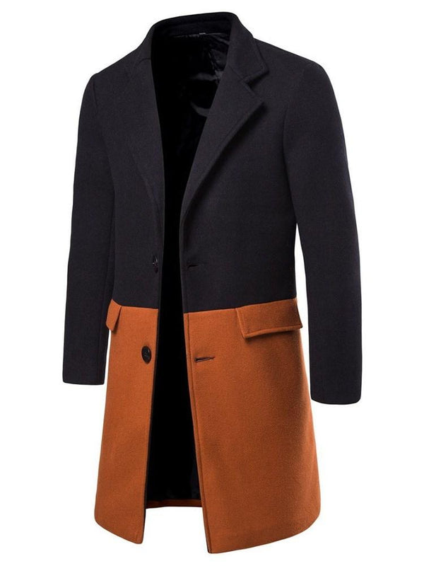 Notched Lapel Color Block Button Winter Korean Coat