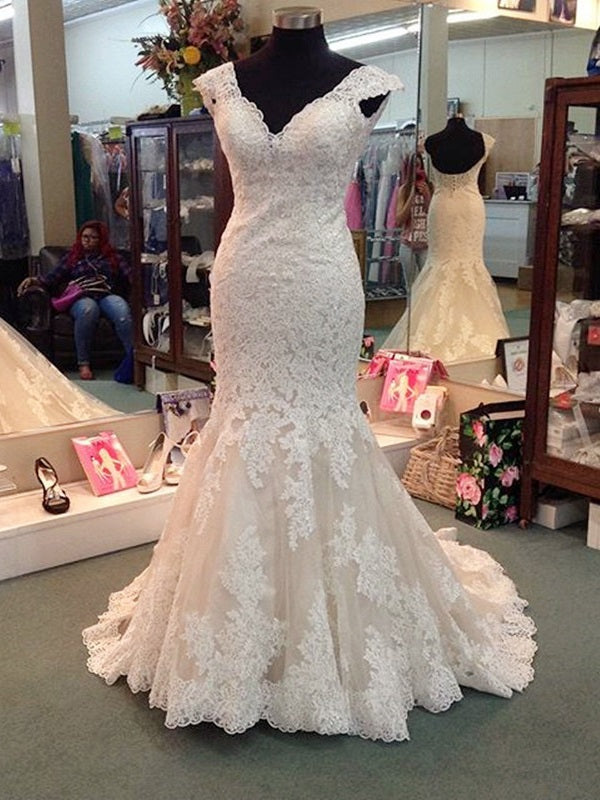 Trumpet/Mermaid Sweep/Brush V-Neck Floor-Length Church Wedding Dress