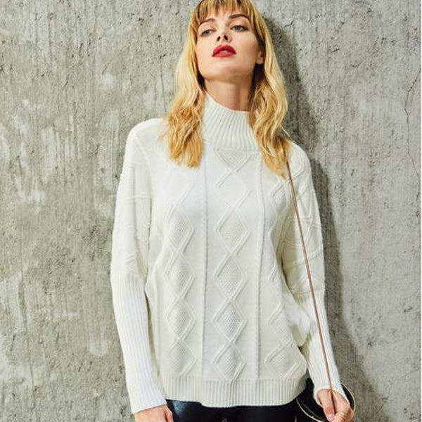 Knitted Fabric Stand Collar Plain Pattern Women Knitwear