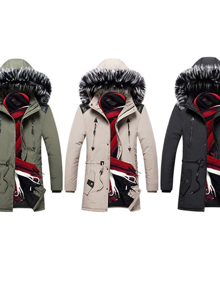 Color Block Mid-Length Hooded European Zipper Down Jacket