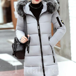 Straight Model Hooded Neckline Zipper Women Overcoat