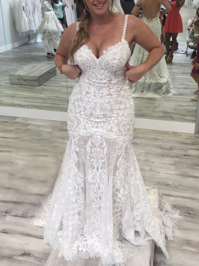 Lace Sleeveless Court Spaghetti Straps Hall Wedding Dress