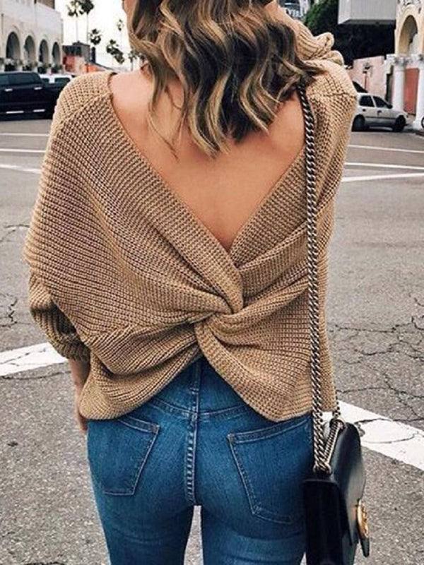 Thin Pleated Long Sleeve V-Neck Sweater