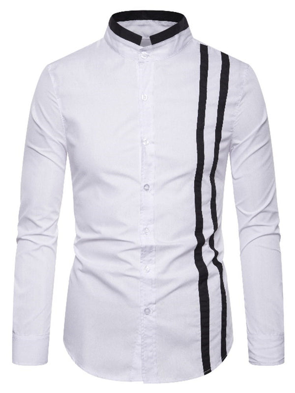 Casual Color Block Stand Collar Slim Single-Breasted Shirt