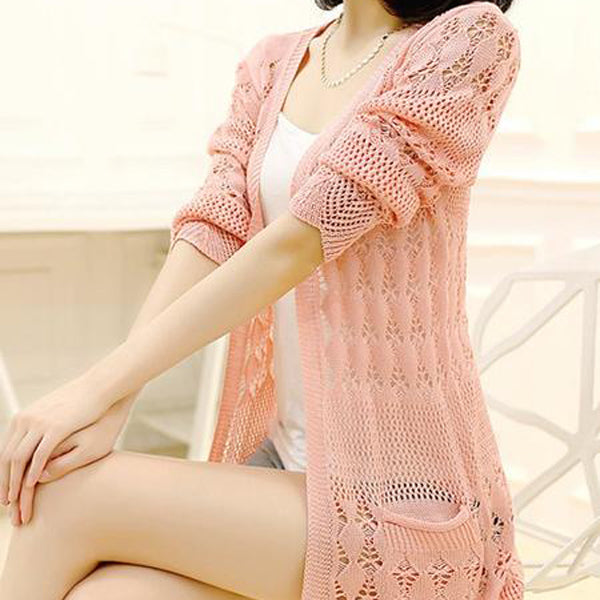 Hollow Plain V-Neck Loose Model Cardigan Knitwear