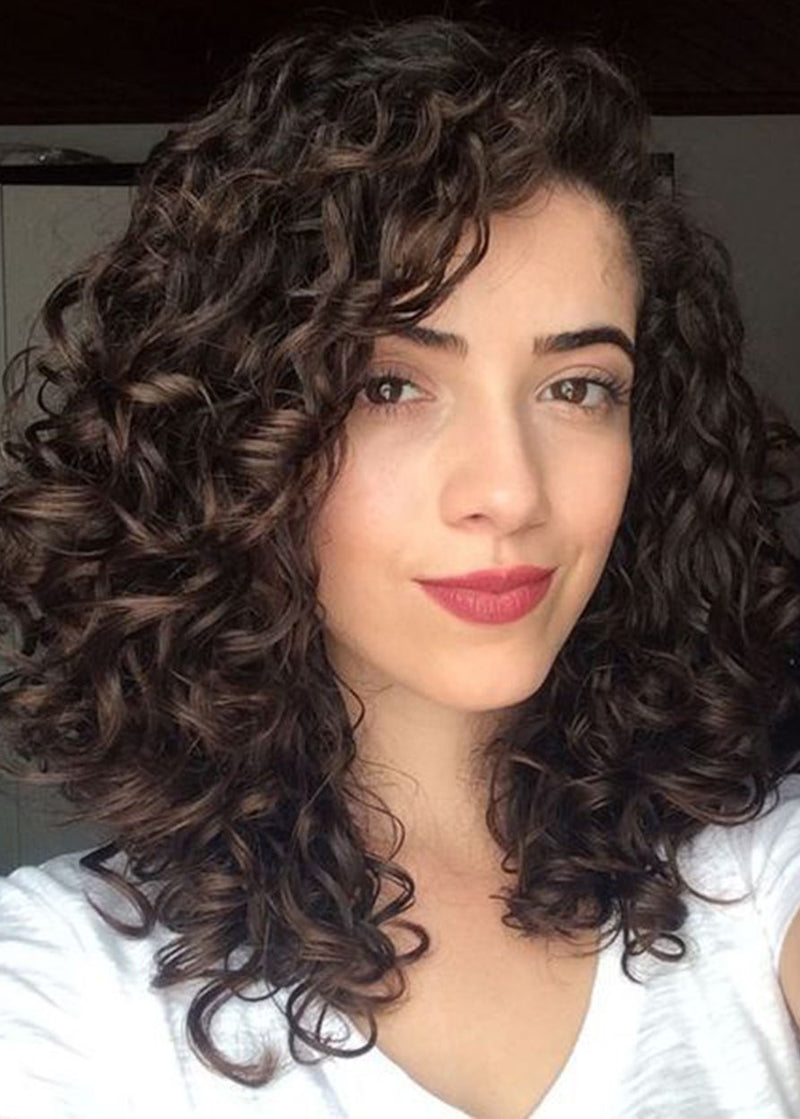 Women Big Curly Lace Front Cap Human Hair 20 Inches Wigs