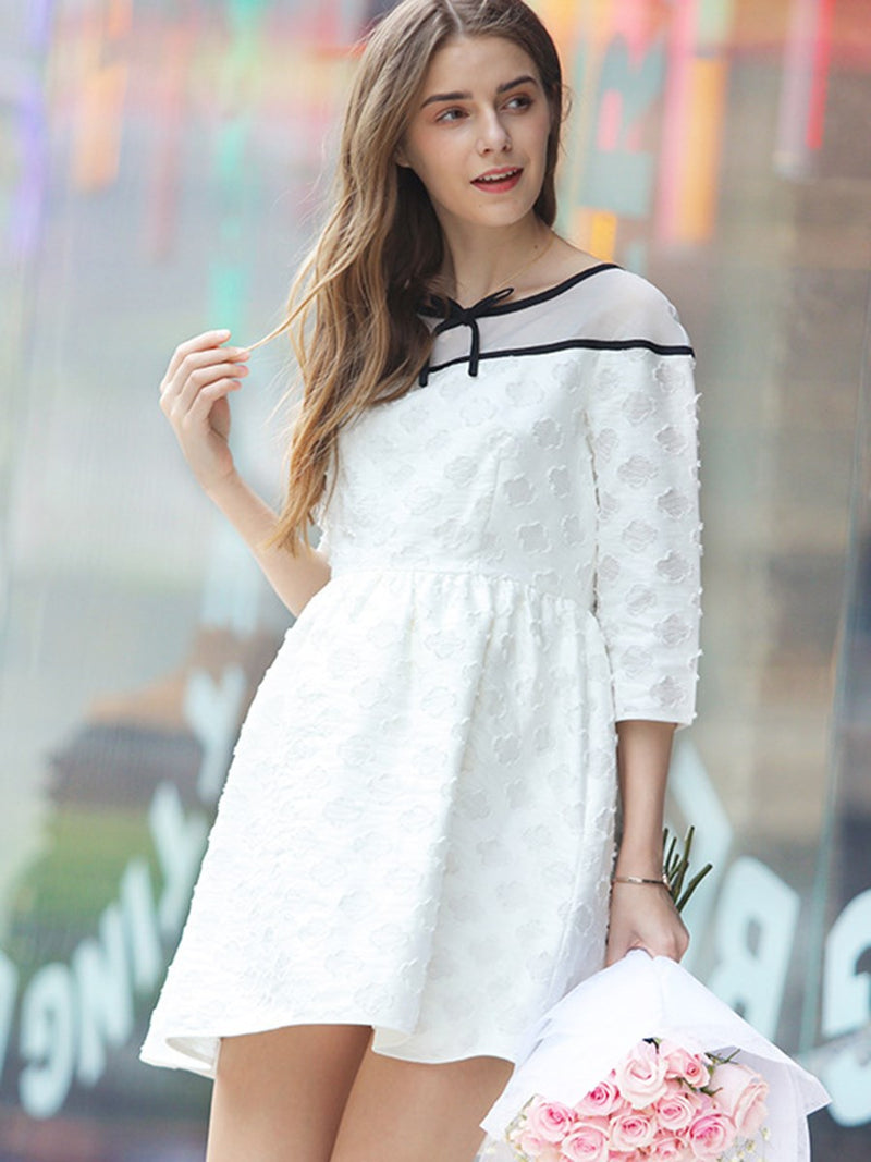 Stylish Cotton Blends 3/4 Sleeve Maternity Dress