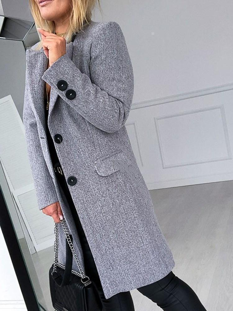 Slim Single-Breasted Notched Lapel Mid-Length Overcoat