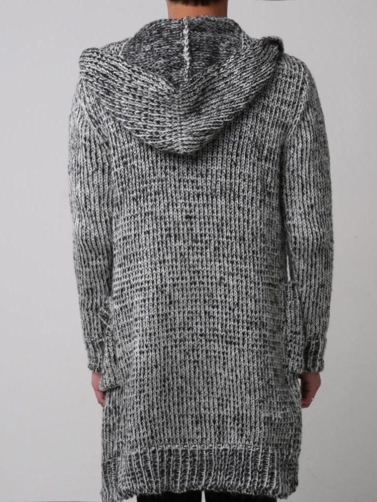 Pocket Mid-Length Hooded Casual Winter Sweater