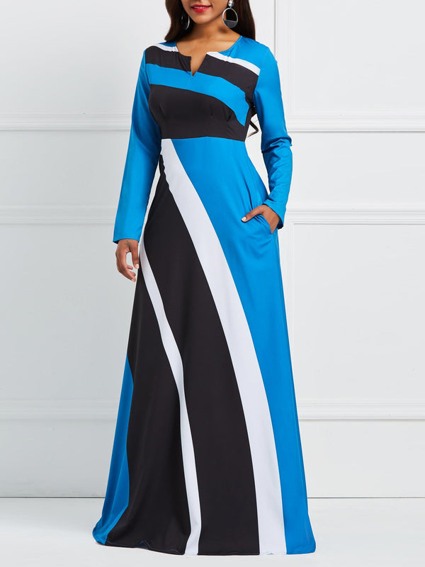 Striped Long Sleeve Women's Maxi Dress