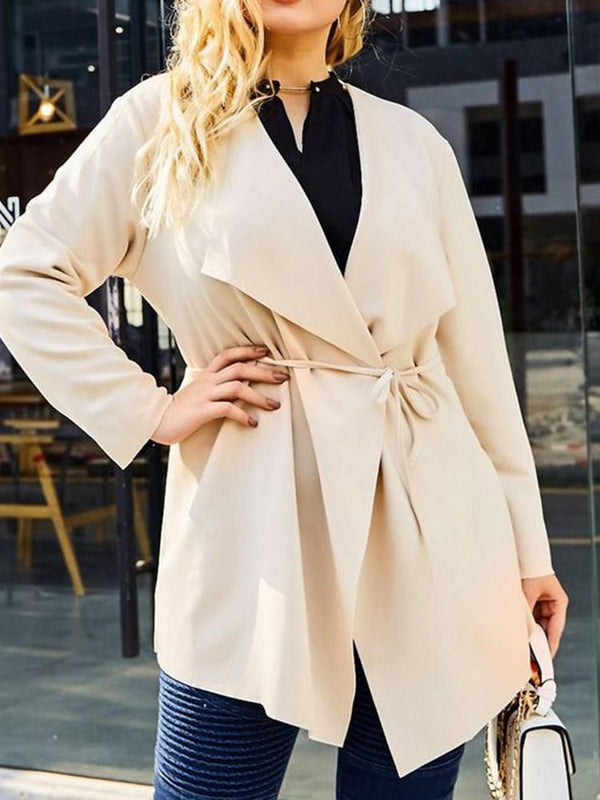 Mid-Length Long Sleeve Loose Trench Coat