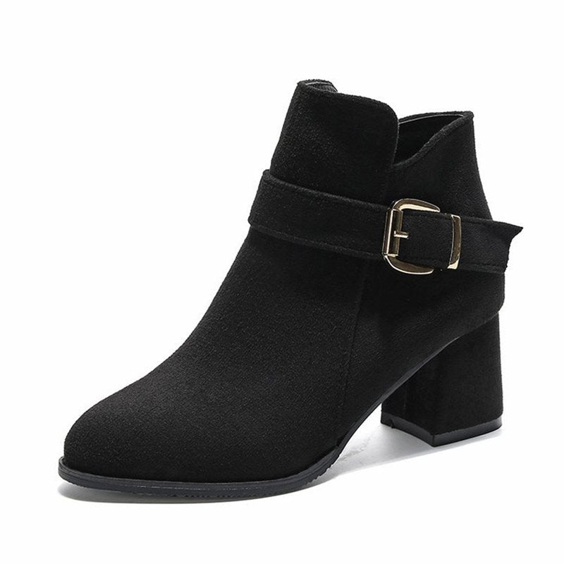 Chunky Heel Plain Round Toe Side Zipper Short Floss Casual Boots