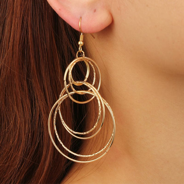 Retro Large Circular Earrings Geometric Long Women Earrings