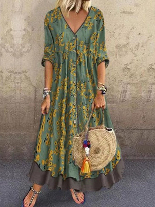 Print Three-Quarter Sleeve V-Neck Floral Regular Dress