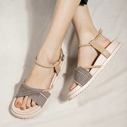 Ankle Strap Buckle Open Toe Flat With Casual Patchwork Sandals