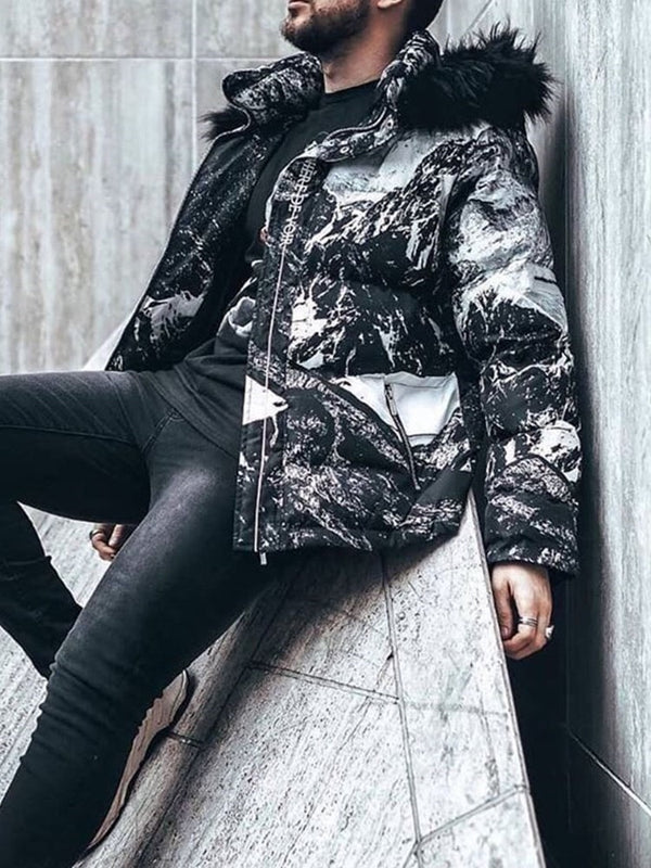 Standard Color Block Print Casual Zipper Down Jacket