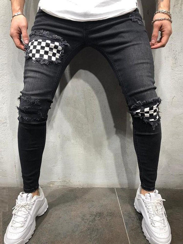 Zipper Plaid Zipper Casual Jeans