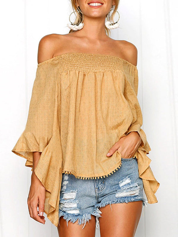 Asymmetric Plain Off Shoulder Three-Quarter Sleeve Mid-Length Blouse