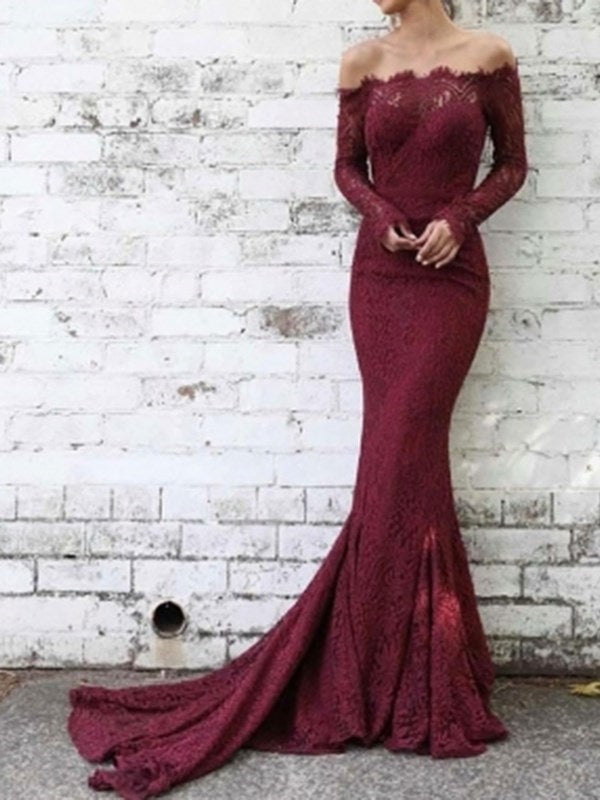 Floor-Length Off-The-Shoulder Long Sleeves Lace Evening Dress