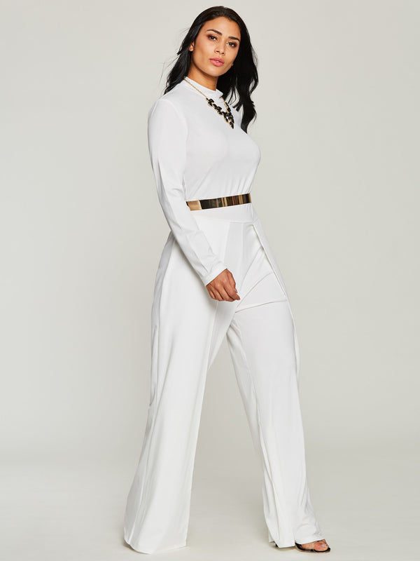 Patchwork Plain Full Length Wide Legs Slim Jumpsuit