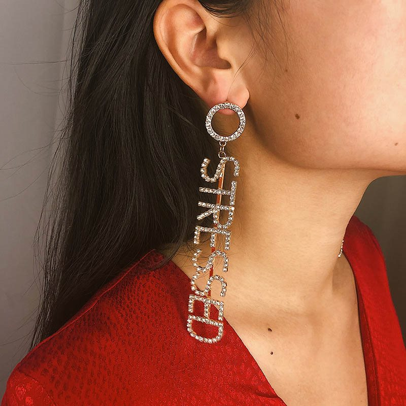 Diamante European Letter Anniversary Earrings