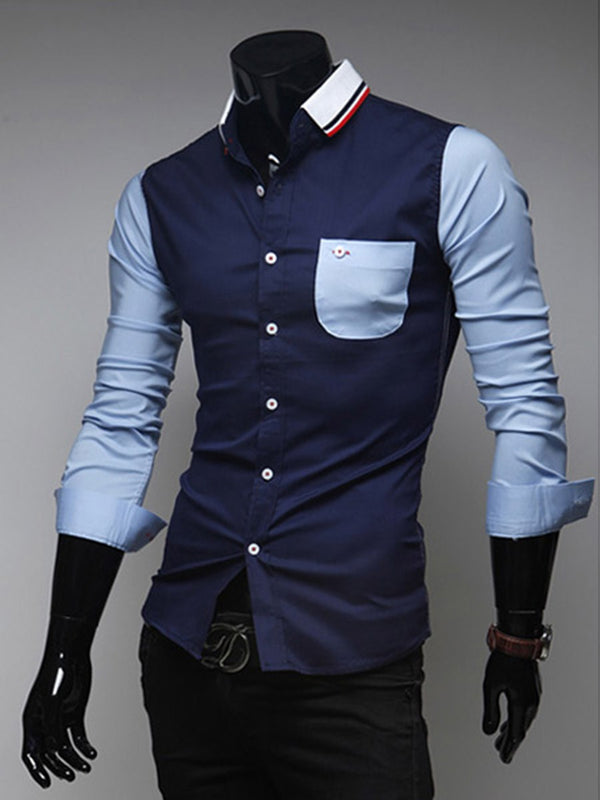 OL Pocket Lapel Spring Single-Breasted Shirt