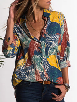 Floral V-Neck Print Long Sleeve Mid-Length Blouse