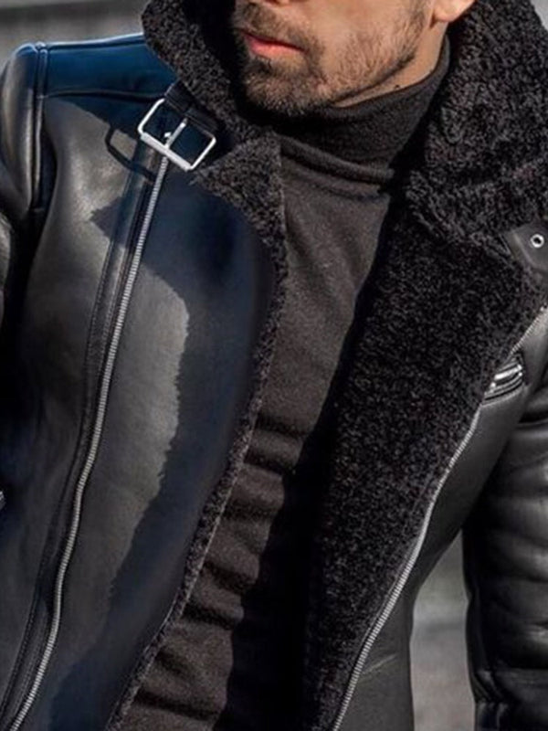 Standard Lapel Plain Straight Patchwork Leather Jacket