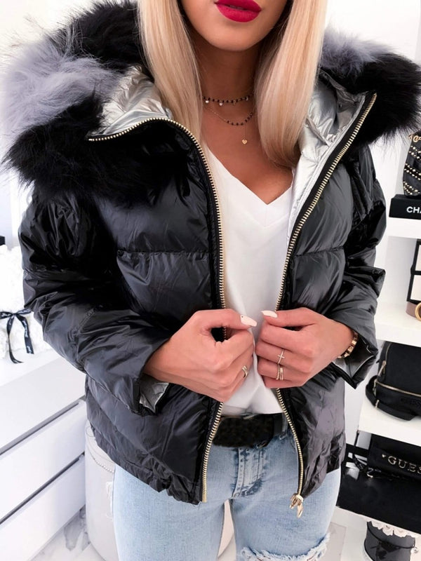 Patchwork Slim Thick Standard Cotton Padded Jacket