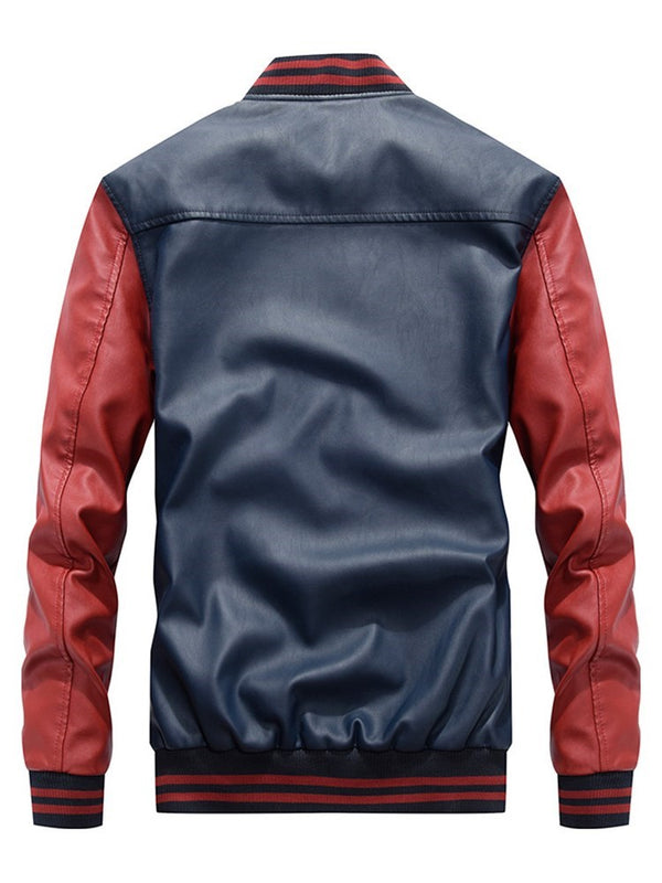 Standard Color Block Stand Collar Loose Zipper Leather Jacket