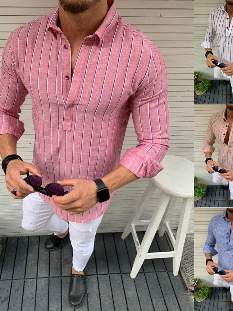 Button Casual Stripe Single-Breasted Spring Shirt