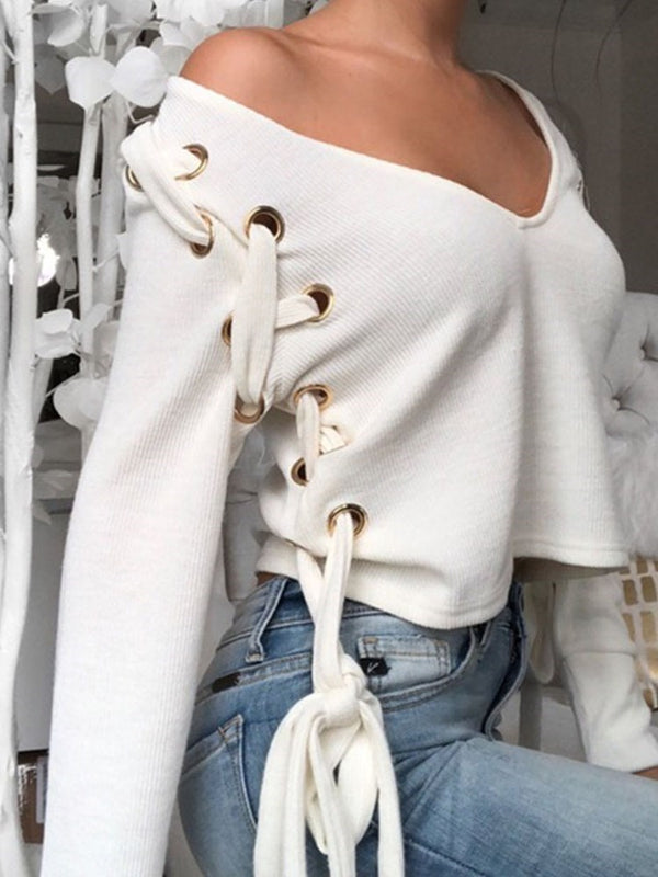 Patchwork Straight V-Neck Sweater