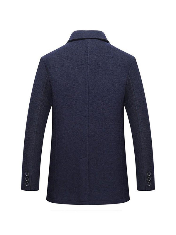 Lapel Standard Plain Slim Single-Breasted Coat