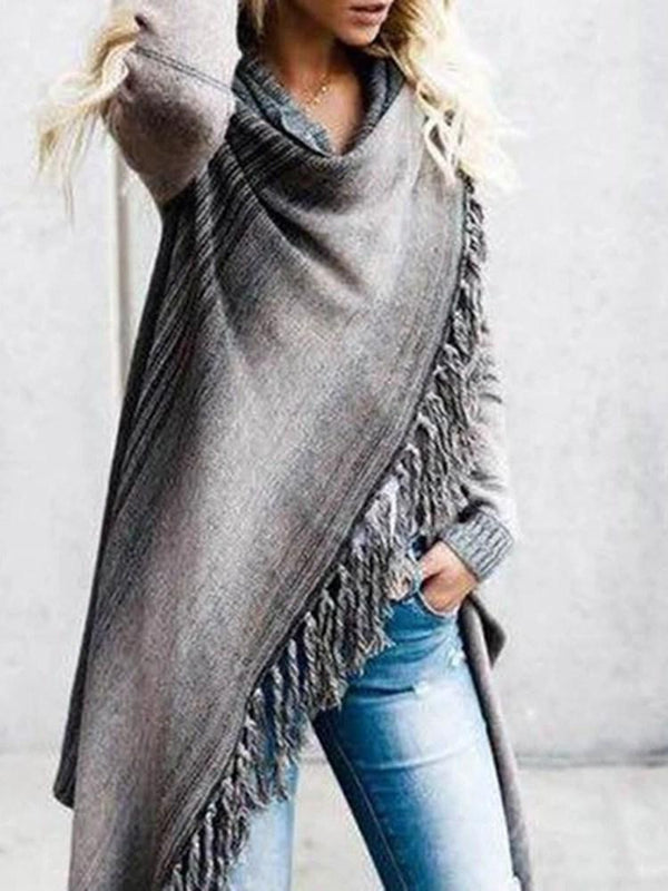 One Button Tassel Slim Mid-Length Sweater