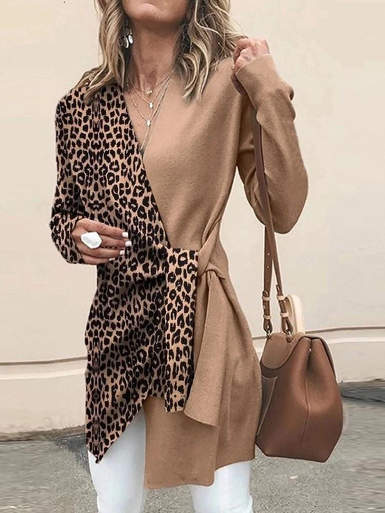 Mid-Length Leopard Long Sleeve Western Slim T-Shirt