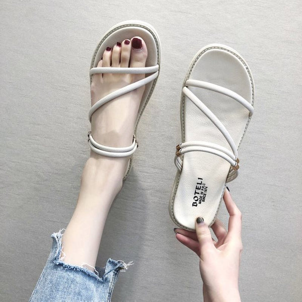 Open Toe Ankle Strap Flat With Slip-On Low-Cut Upper Casual Sandals