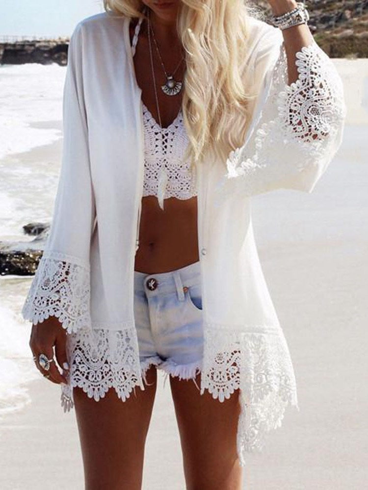 Print Animal Mid-Length Long Sleeve Blouse