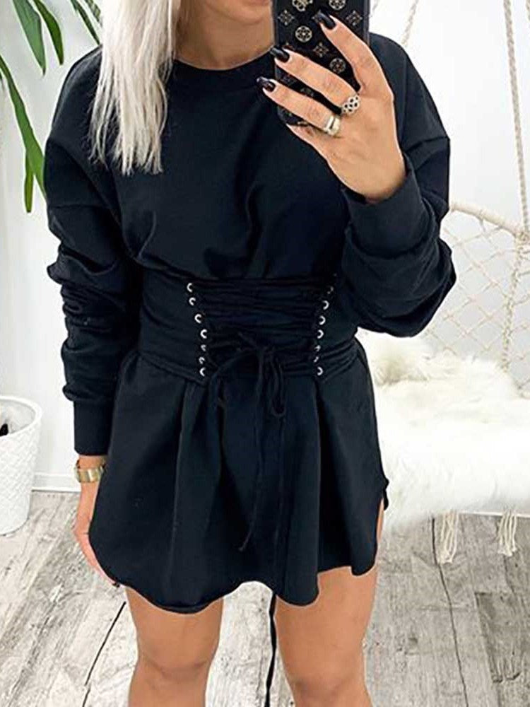 Lace-Up Long Sleeve Round Neck Pullover Regular Dress