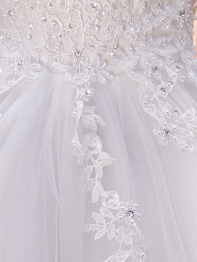 Floor-Length V-Neck Short Sleeves A-Line Church Wedding Dress