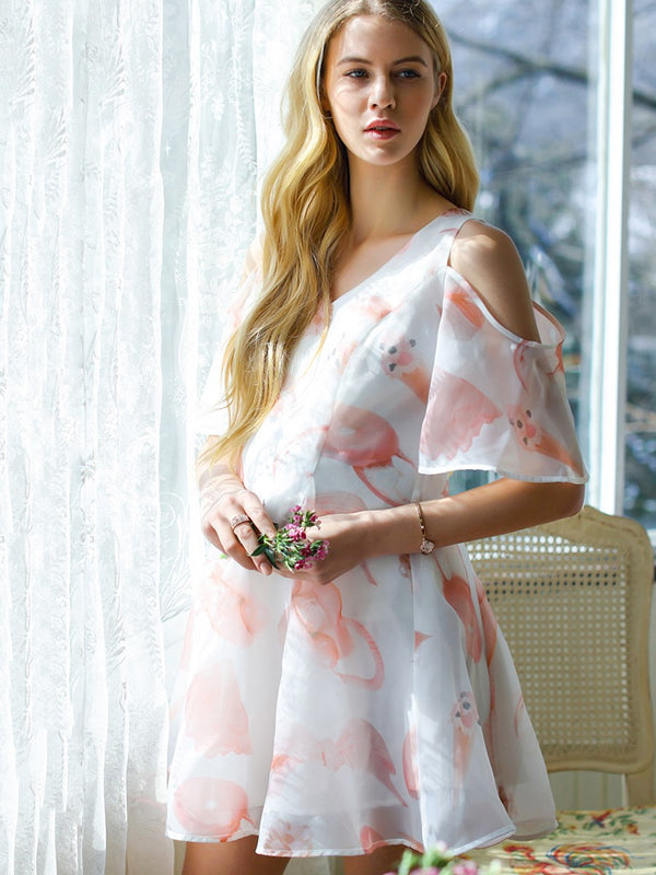 Stylish Floral Cold-Shoulder Maternity Dress