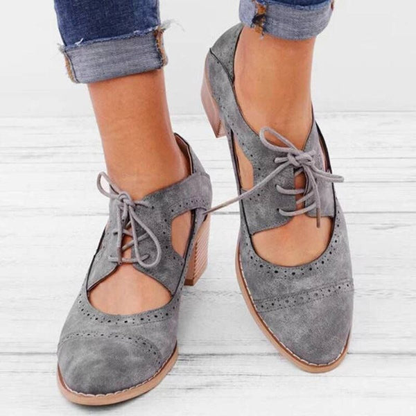 Hollow Chunky Heel Round Toe Lace-Up Plain Casual Thin Shoes