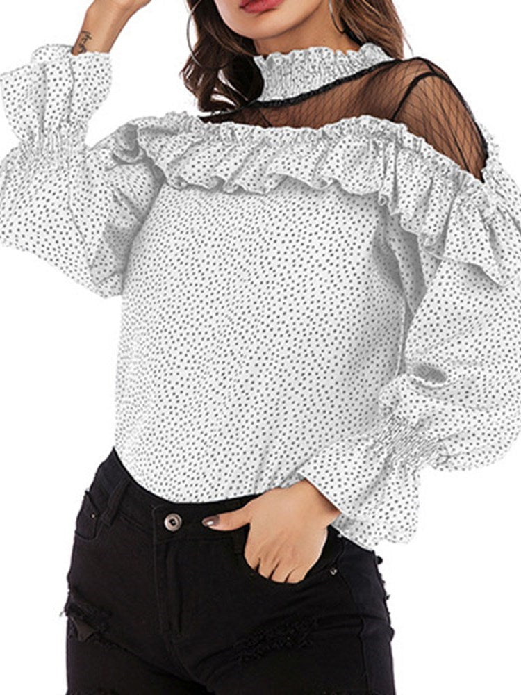 Polka Dots Stand Collar Flare Sleeve Standard Long Sleeve Blouse