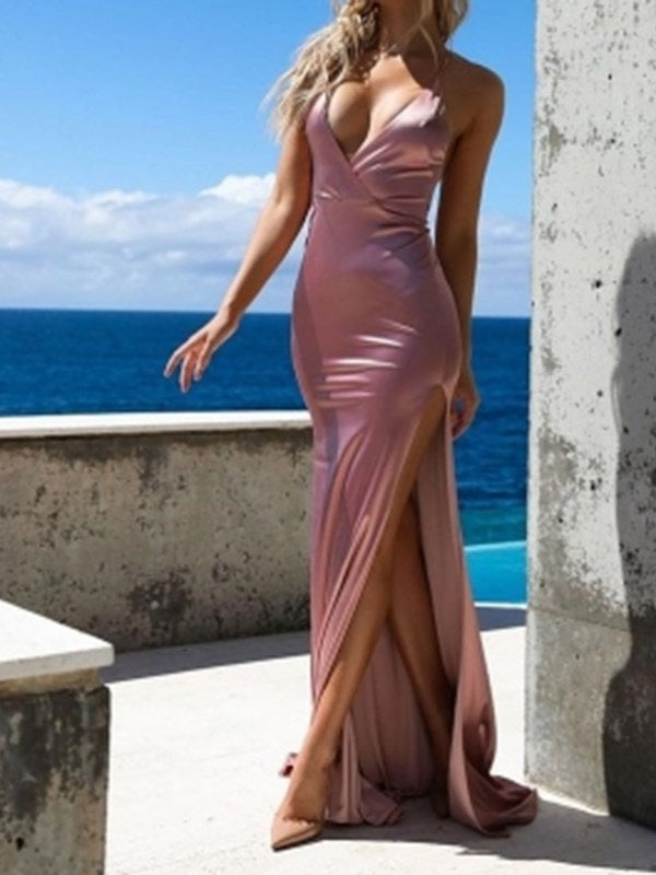 Floor-Length Split-Front Trumpet/Mermaid Sleeveless Evening Dress