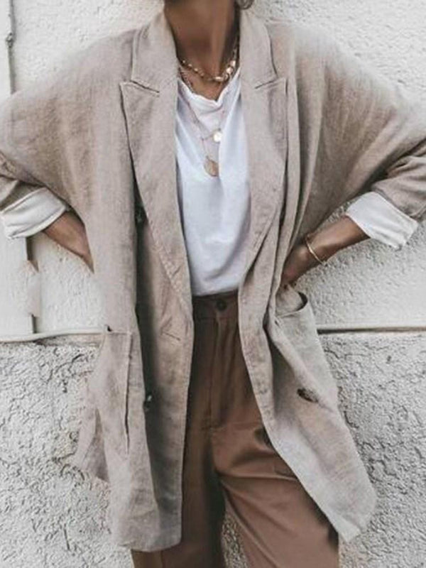 Notched Lapel Mid-Length Straight Casual Trench Coat