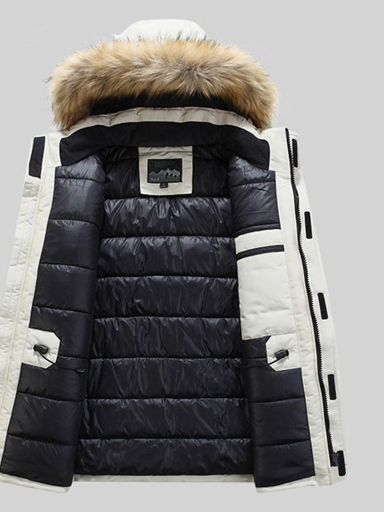 Hooded Color Block Patchwork Zipper Casual Down Jacket