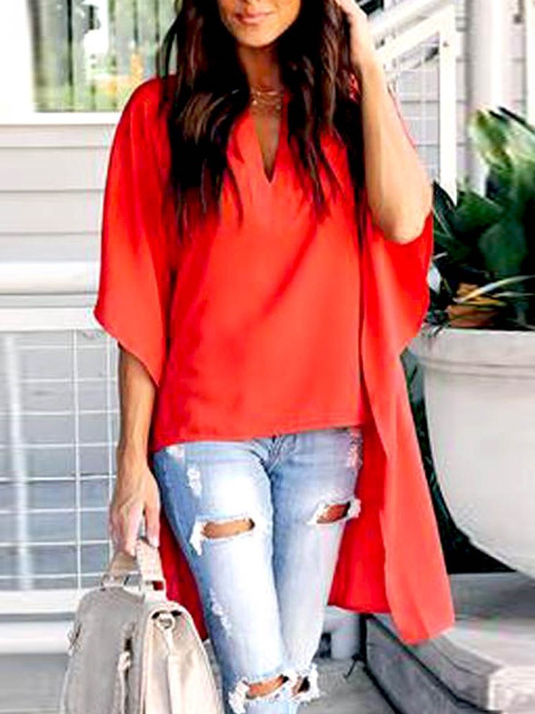 Plain Patchwork V-Neck Half Sleeve Mid-Length Blouse