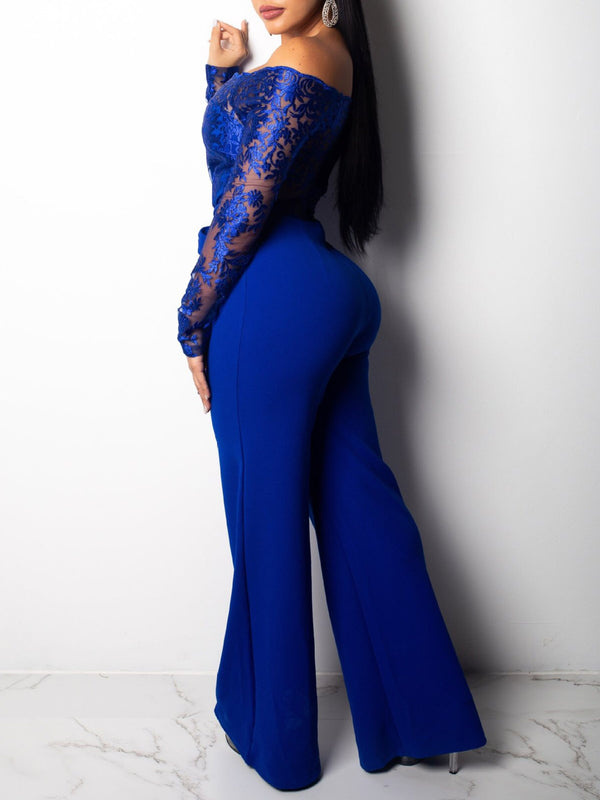 Casual Lace Full Length Slim Wide Legs Jumpsuit