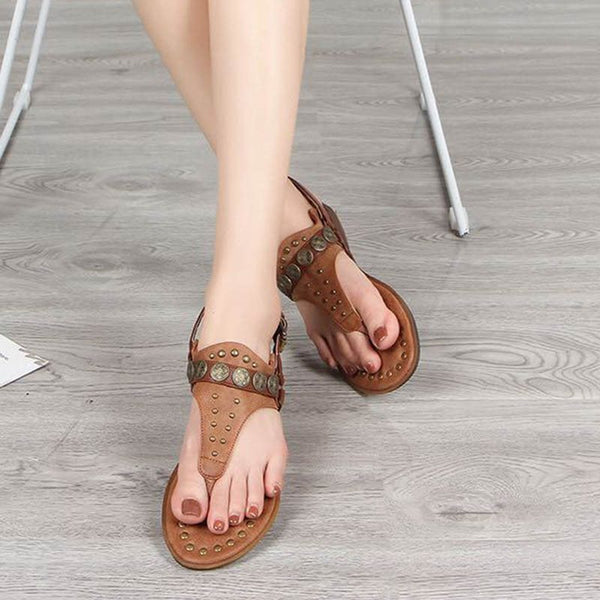 Thong Flat With Buckle Casual Plain Sandals