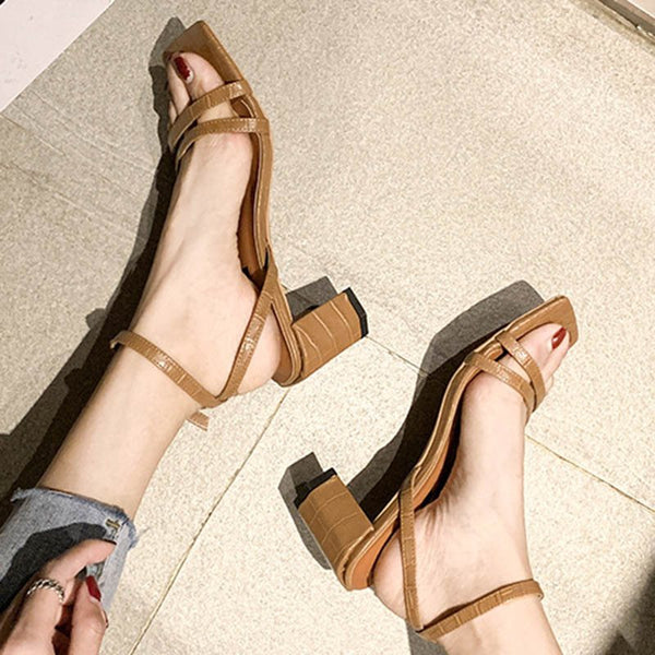 Chunky Heel Ankle Strap Open Toe Buckle Korean Low-Cut Upper Sandals